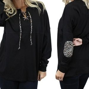 Tops - Black/Leopard Lace Up with Elbow Patches